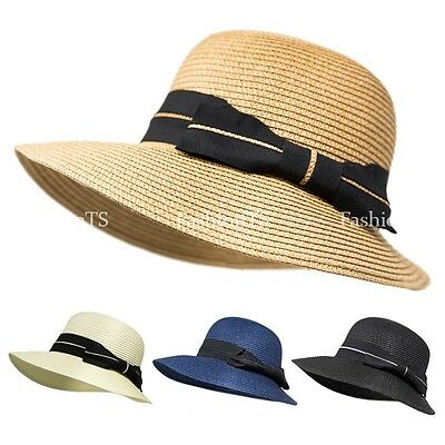 Womens Panama Straw Hat Wide Brim Ribbon Hat Folding Floppy Sun Beach Cap Lady
