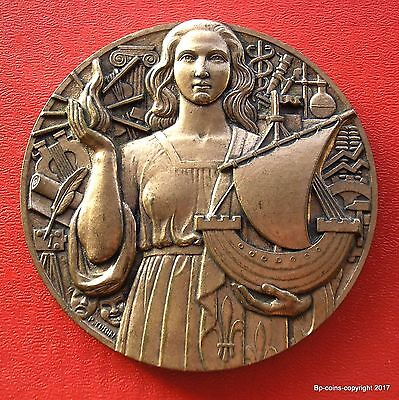 SCARCE 1950 LARGE 80mm BRONZE FRENCH MEDAL BY P TURIN PARIS MINT.