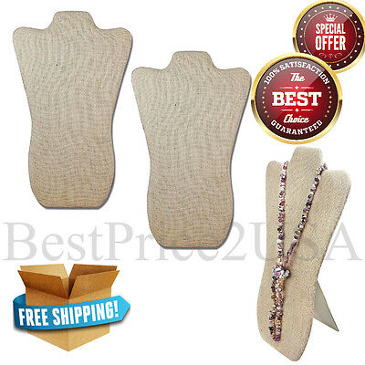 2PK Linen Covered Wood Necklace Stand Organizer Holder Mannequin Display Jewelry
