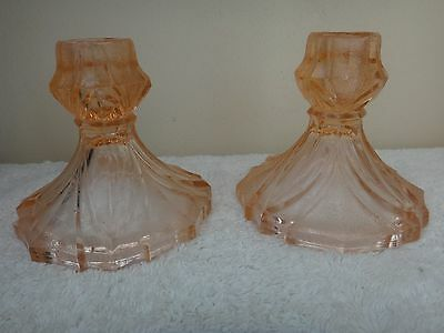 Vintage Pair Bagley Sowerby Glass Candlesticks Pressed Glass Candlesticks c1930s