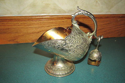 Antique Silver Ornate Intricate  Sugar Flour Bowl With Scoop Copper Interior