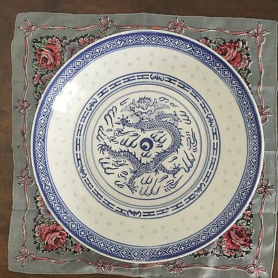 """Vintage Rice Eyes Dragon Bowl, 9"""" Chinese Blue and White Shallow Bowl"""