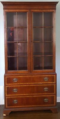 GORGEOUS Johnson Co. Antique Tall Narrow Cabinet Bookcase - BEAUTIFUL DETAIL