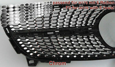 CHROM Folien für Mercedes W176 Facelift Mopf Urban- Diamantgrill Kühlergrill AMG