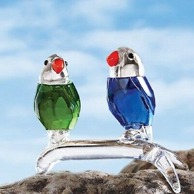 FACETED CRYSTAL GREEN & BLUE PARROTS On A Branch FIGURINE gift DELUXE bird NEW