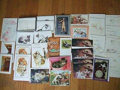 lot 28 nos vintage modern cat kittens cards w/ envelopes wall plaque hallmark +