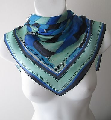 Stunning Vintage Small Abstract Neck Silk Scarf Rolled hem  (4515x)