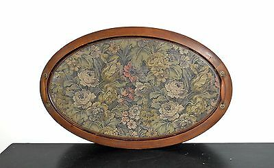 Antique Victorian NeedlePoint Embroidery Large Wood Serving Tray With Handles