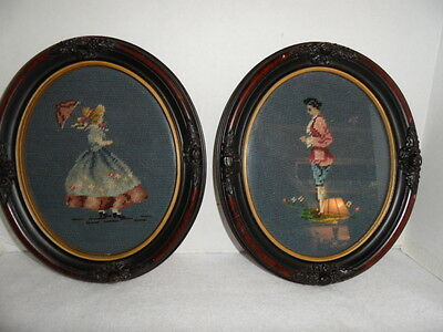 Two Victorian Needlepoint /Embroidery Girl  and Boy Oval Antique Frames