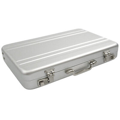 Suitcase Briefcase Metal Wallet ID Credit Card Business Aluminum Holder Silver