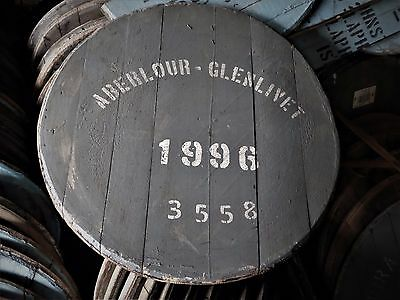 """1996 Aberlour Oak Whisky Barrel Lid end braced and ready to hang 24"""" wide"""