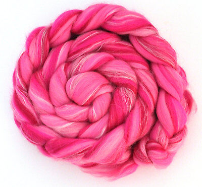 Merino Wool Silk Blend Combed Top Roving Vibrant Pink 100g