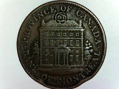 1844 Canada Bank of Montreal Bank Token w/Extremely Rare Rose Countermark