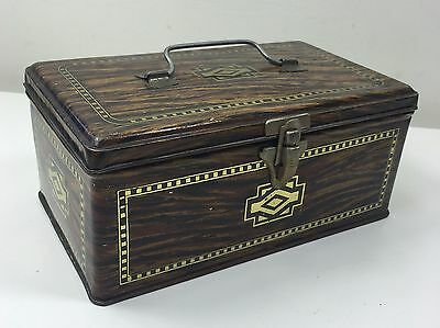 Vintage Faux Wooden Tin Box - Handle On Top With Cach On Front - Great Novelty!