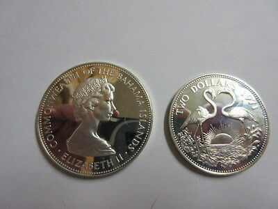 1971  Bahama 5 Dollar and 2 Dollar .925 Silver Proof Coins