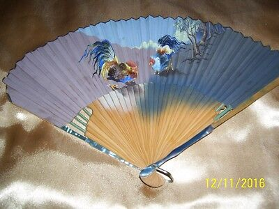 Vintage/antique Handpainted Japanese Folding Hand Held Fan Abalone Trim Orig Box