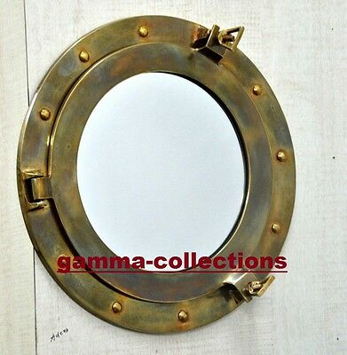 Brass Ship Cabin Porthole Window Wall Mirror Maritime Ships Beach Home Decor