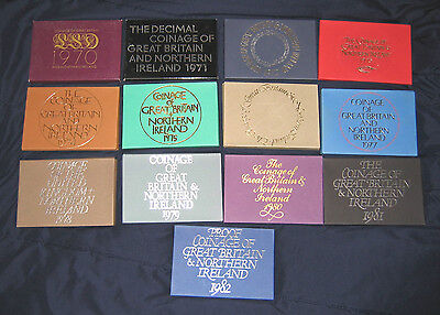 1970 - 1982 British Royal Mint Proof Sets, UK United Kingdom