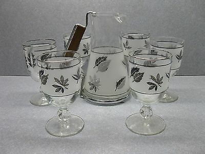 Vintage Libbey Silver Foliage Stemmed Glasses With Pitcher