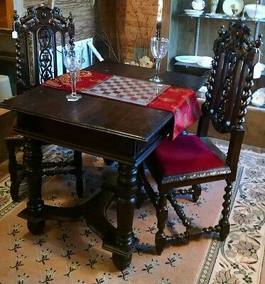 French Renaissance / Gothic Revival Hand Carved Library Game Table - Desk