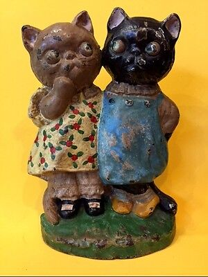 Antique Cast Iron Hubley TWIN KITTENS CAT Doorstop GRACE DRAYTON Rare or Bookend
