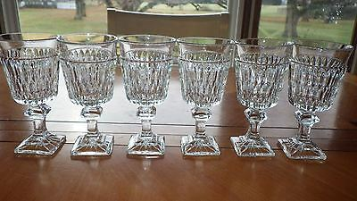 Vintage Wine Glasses of CLear Glass Square base and stem Diamond Cut glass 6 5oz