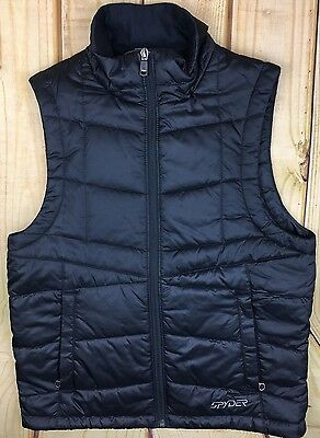 Men's XS Black Spyder Vest Puff Winter Fall Embroidered