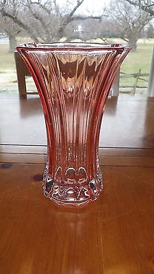 "Pink Depression Glass Decorative Vase with Clear Bottom Ribbed Panels 7.75"" tall"