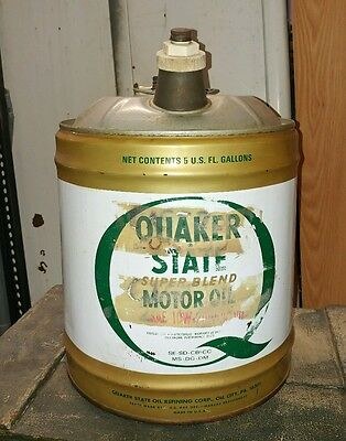 Vintage Quaker State Motor Oil 5 Gallons Oil Can