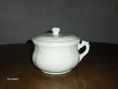 Antique Vintage Classic White Ironstone Chamber Pot With Lid Makes Great Planter