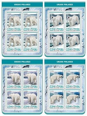 Z08 IMPERF ST17211c Sao Tome and Principe 2017 Polar bears MNH Mint
