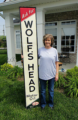 1941 Original Wolfs Head Oil Can Service Gas Station Old Tin Sign- in wood frame