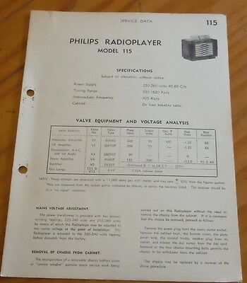 original Service Data for Philips radio player Model 115 ( vintage radio )