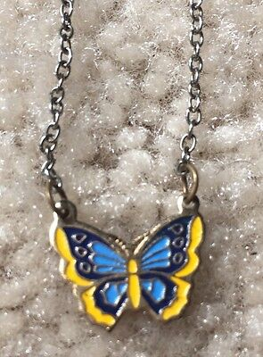 Blue & Yellow Butterfly Necklace