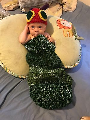 Crochet VERY HUNGRY CATERPILLAR BABY HAT and Cocoon Photo Prop NEWBORN