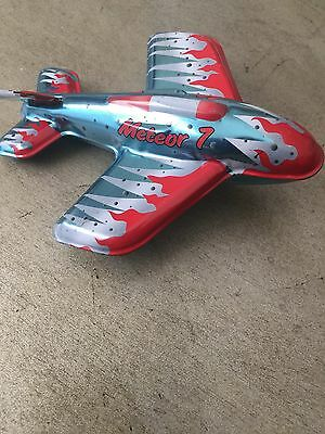 Meteor 7 Schylling Tin Friction Powered Airplane 13015 LU