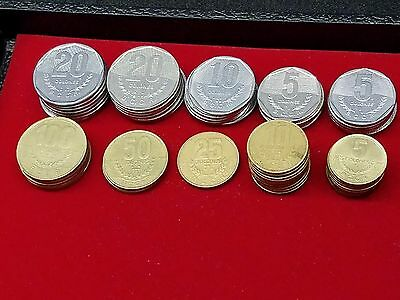 Lot of 53 Costa Rica Coins 5 ,10 ,20, 25, 50, 100 Colones 1980s, 1990s