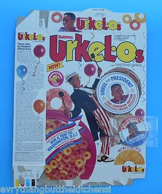 Ralston Urkelos Urkel For President 1992 Cereal Box Empty Flat  Campaign Button