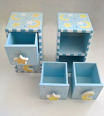 2 Baby Nursery Moon & Stars Decor Organizer Storage Drawers Blue Yellow Pastel