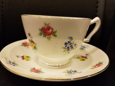 Vintage Crown Staffordshire Fine Bone China Coffee cup and Saucer Floral