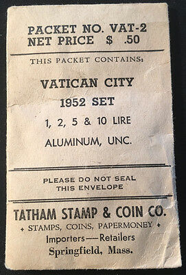 1952 Vatican 1,2,5 & 10 Lire UNC. Coins Sent By Tatham Stamp & Coin Co.
