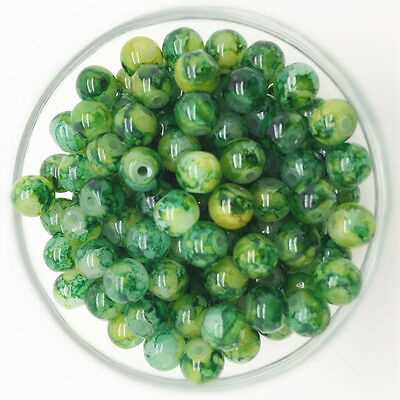 NEW 100PCS 4mm Glass Round Pearl Spacer Loose Beads Pattern Jewelry Making 19