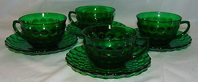 4 Anchor Hocking BUBBLE FOREST GREEN *CUPS & SAUCERS*