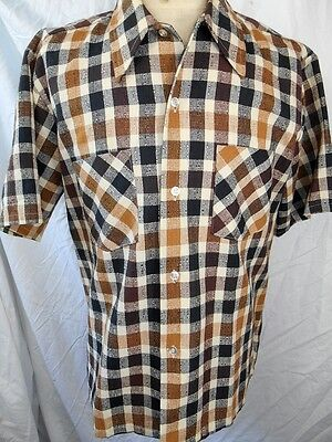 Vintage 60s Brown & Black Plaid Cotton Short Sleeve JC Penney Casual Shirt L