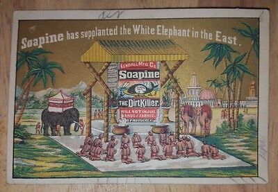 Soapine Dirt Killer Soap Elephant Camel Middle East Dessert Vict Card c 1880s