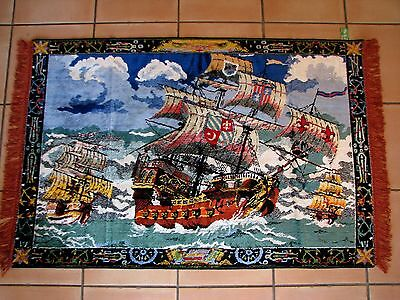 "BEAUTIFUL LARGE Vintage French Tapestry~Ships Ocean~STUNNING COLORS~35x56""SOVALI"