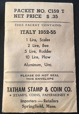 1952-1955 Italy 1,2,5 & 10 Lire Unc. Coins From Tatham Stamp & Coin Company