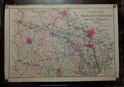 RARE 1912 Philadelphia Main Line ROAD MAP Chester Montgomery Delaware County BIG