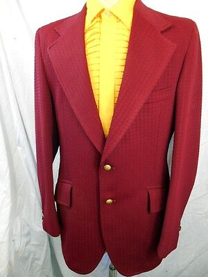 Vintage 60s 70s USA Burgundy Poly Jacket Rock & Roll Vegas Cocktail Glam 40""