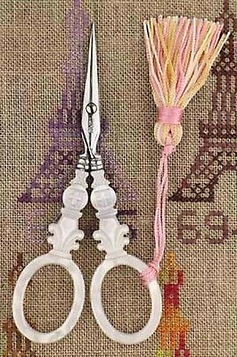 """Embroidery SCISSORS Sajou CROSS Motif Mother of Pearl 4-1/2"""""""